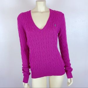 Polo Ralph Lauren Magenta Cable Knit Wool Sweater